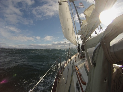leaving Pavlof Bay for >40 knots of wind